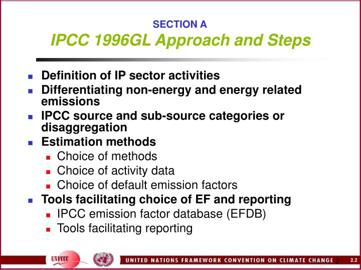 Section a ipcc 1996gl approach and steps