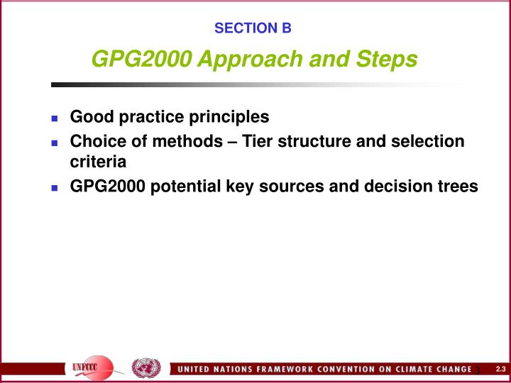 Section b gpg2000 approach and steps
