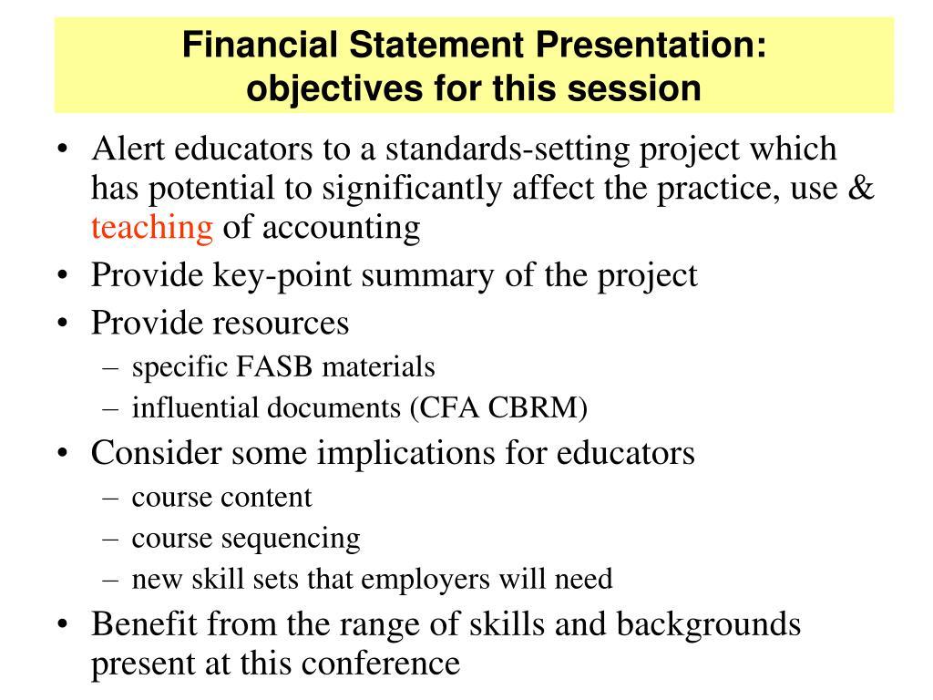 Financial Statement Presentation: