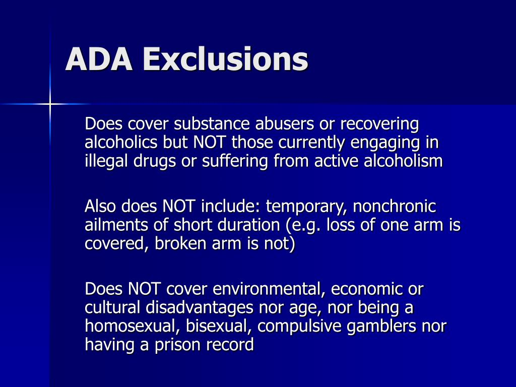 ADA Exclusions