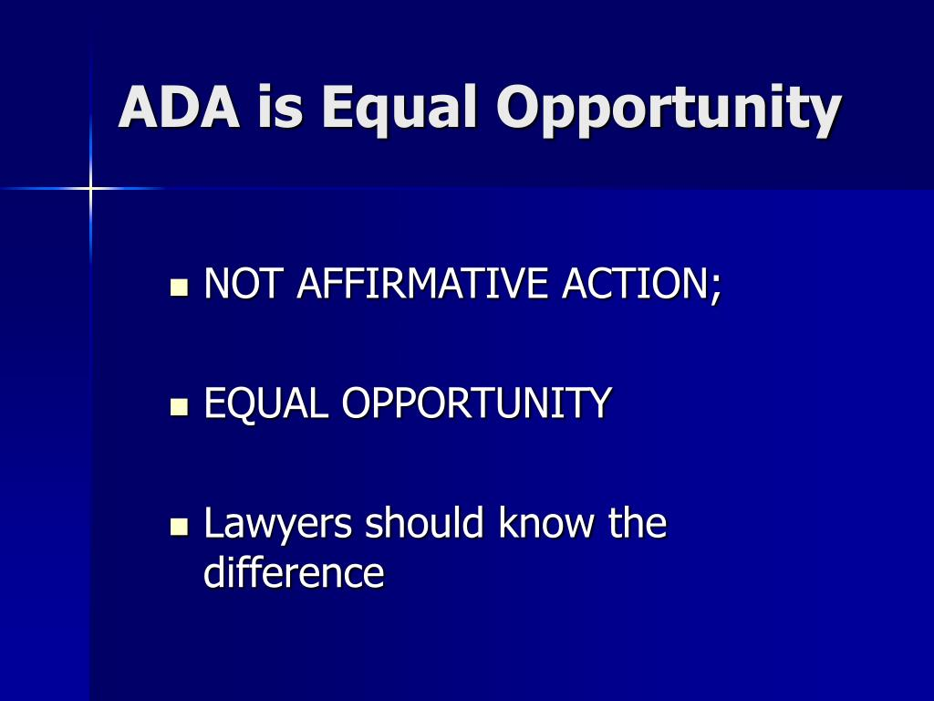 NOT AFFIRMATIVE ACTION;