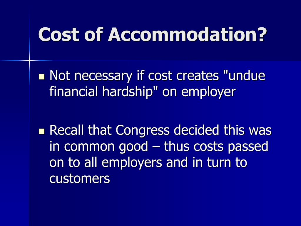 Cost of Accommodation?