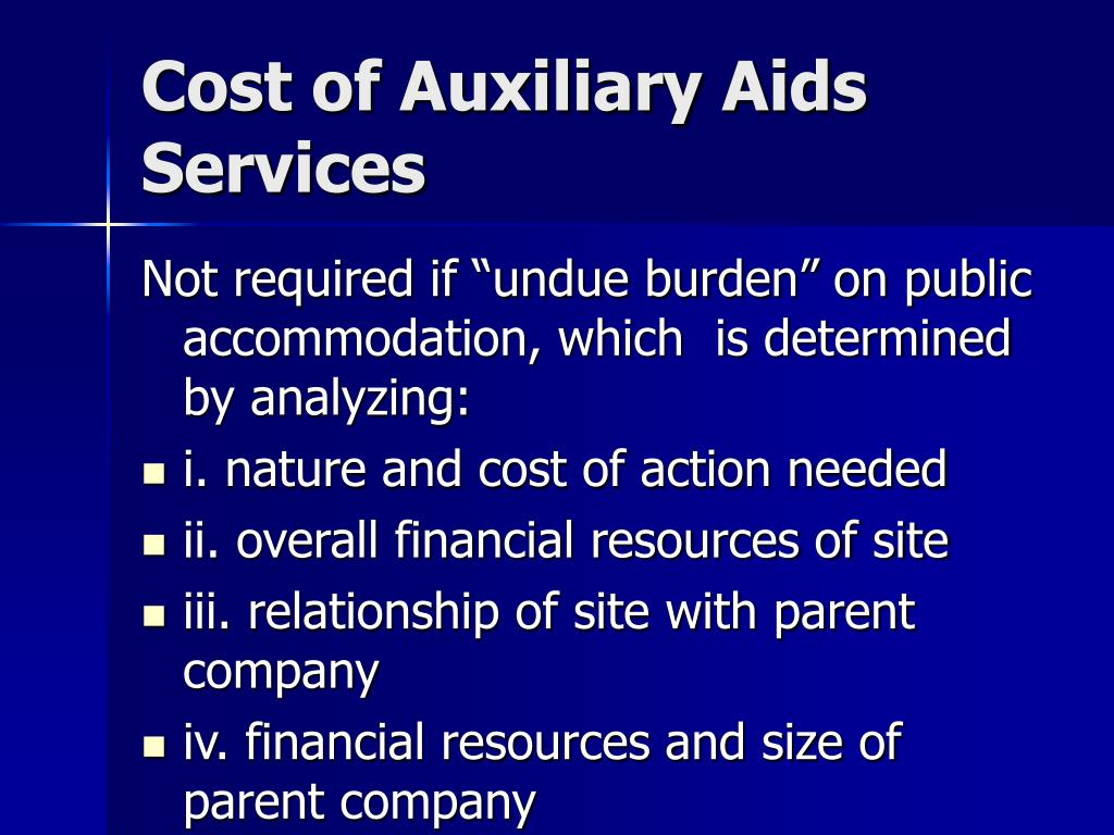 Cost of Auxiliary Aids Services