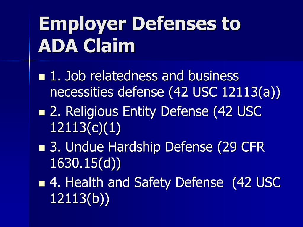 Employer Defenses to ADA Claim