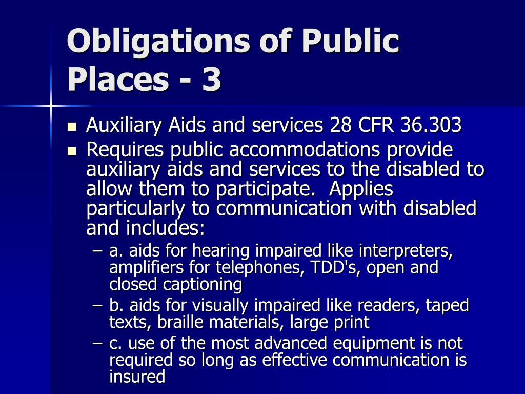 Obligations of Public Places - 3