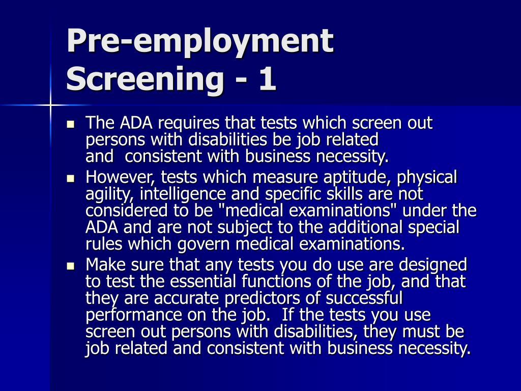 Pre-employment Screening - 1