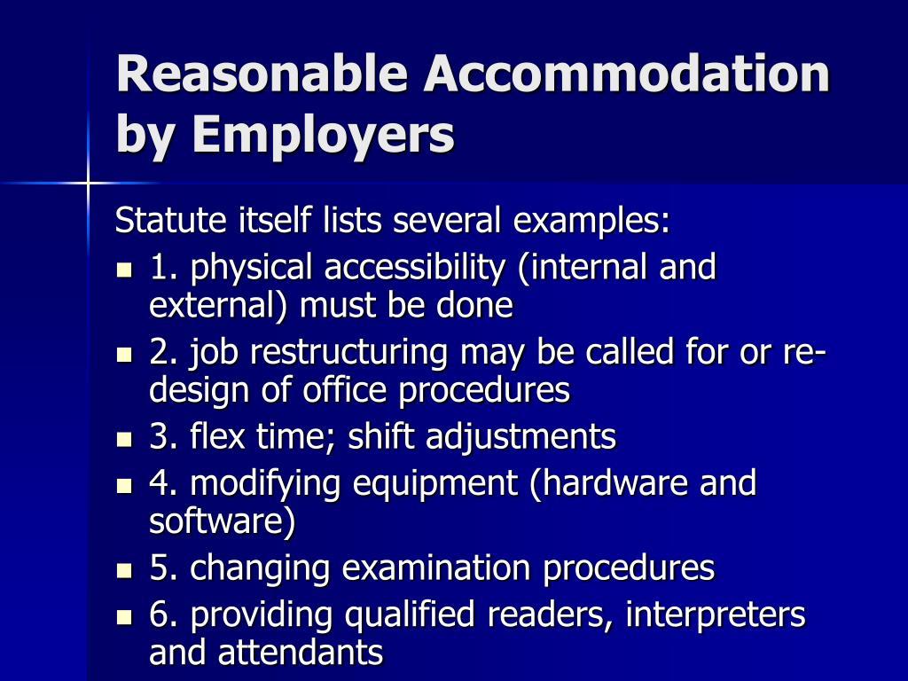 Reasonable Accommodation  by Employers