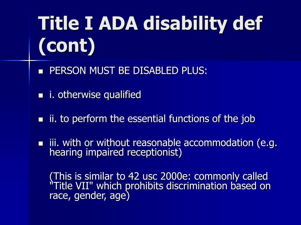 Title I ADA disability def (cont)
