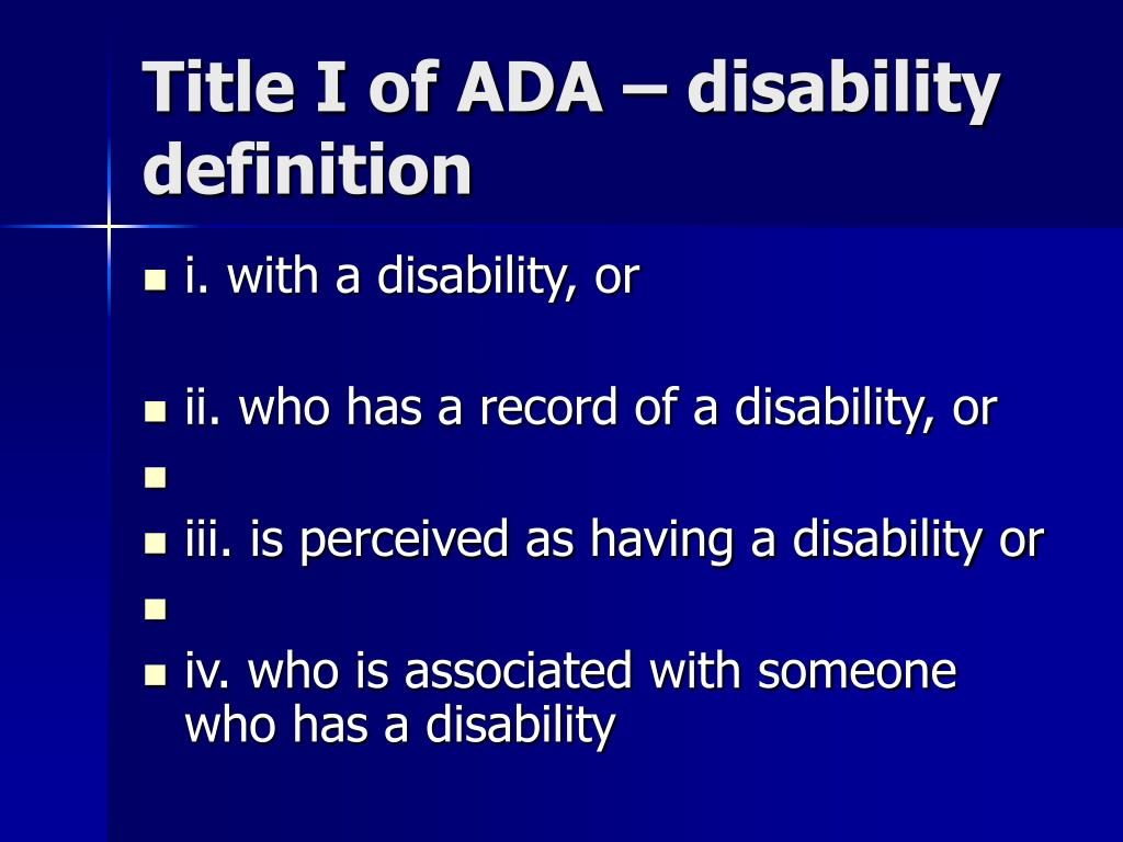 Title I of ADA – disability definition