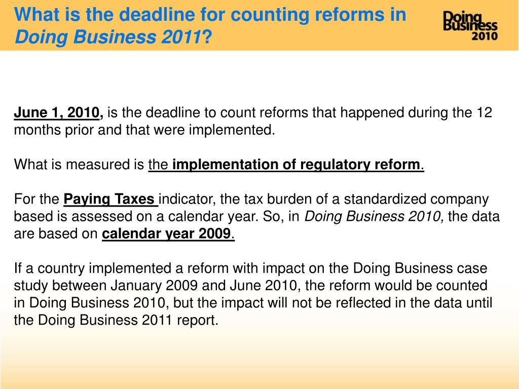 What is the deadline for counting reforms in