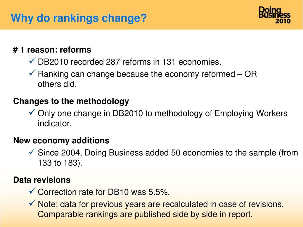 Why do rankings change?