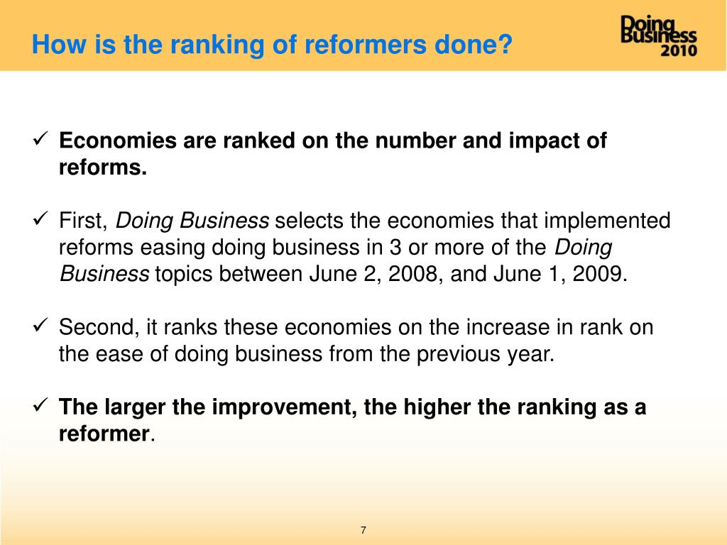 How is the ranking of reformers done?