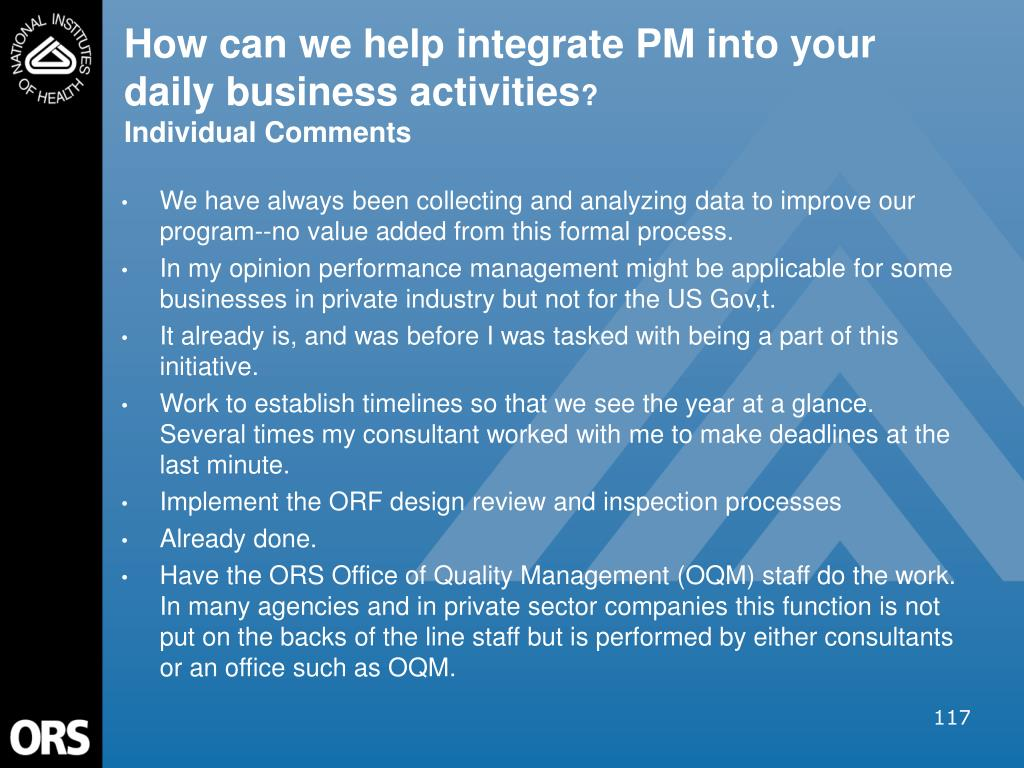 How can we help integrate PM into your daily business activities