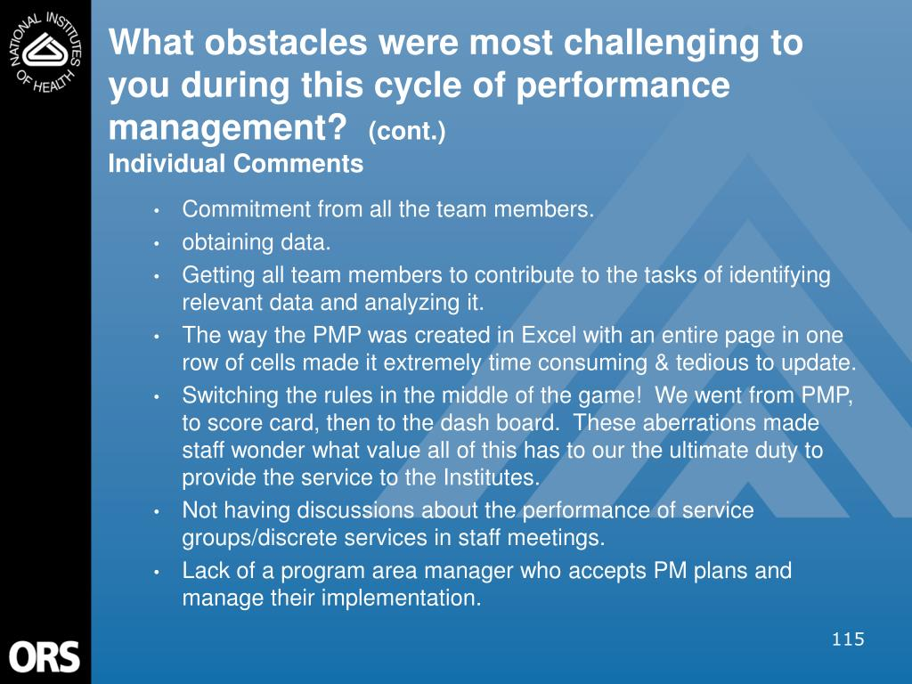 What obstacles were most challenging to you during this cycle of performance management?
