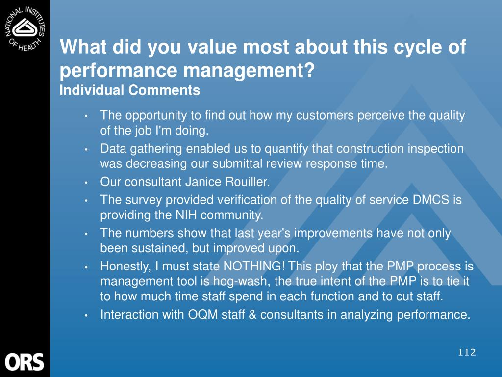What did you value most about this cycle of performance management?