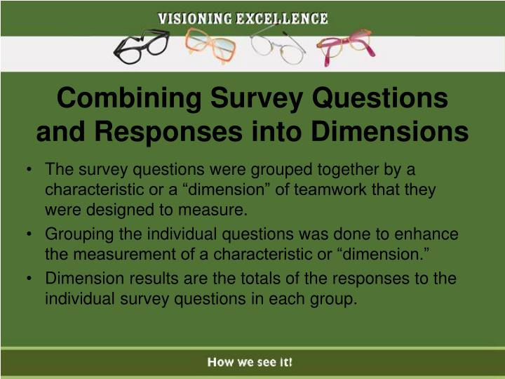 Combining Survey Questions and Responses into Dimensions