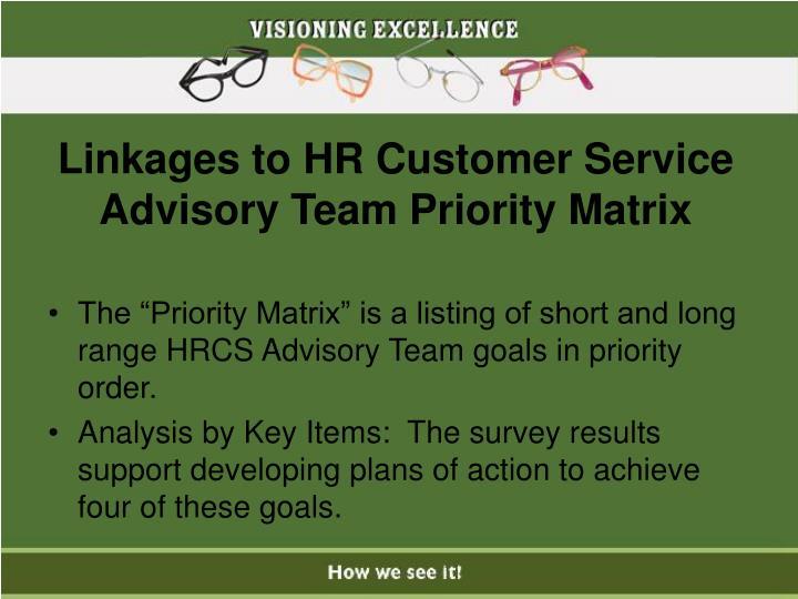 Linkages to HR Customer Service Advisory Team Priority Matrix