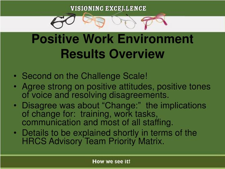 Positive Work Environment Results Overview