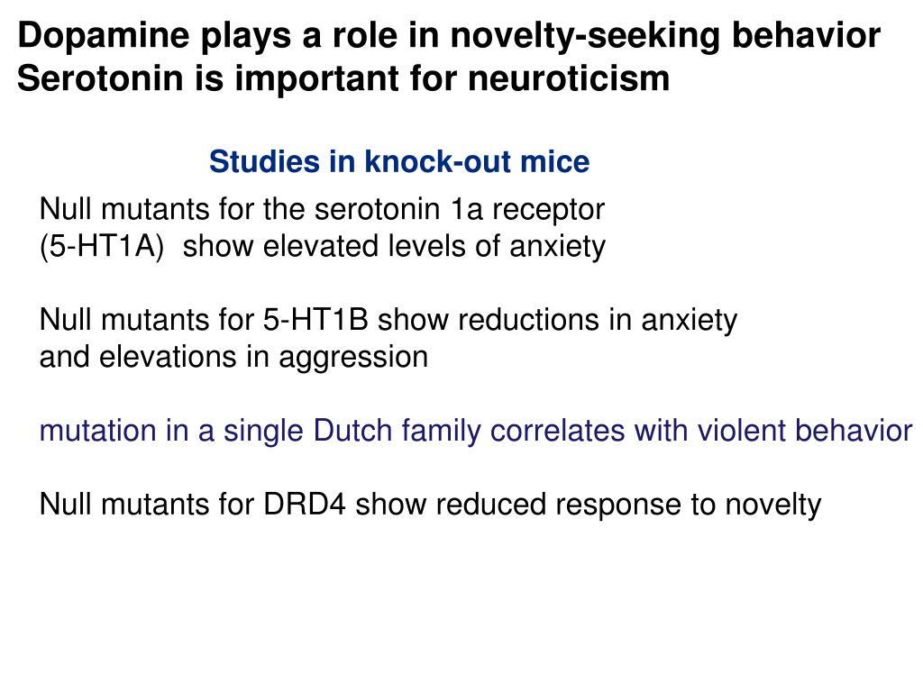Dopamine plays a role in novelty-seeking behavior
