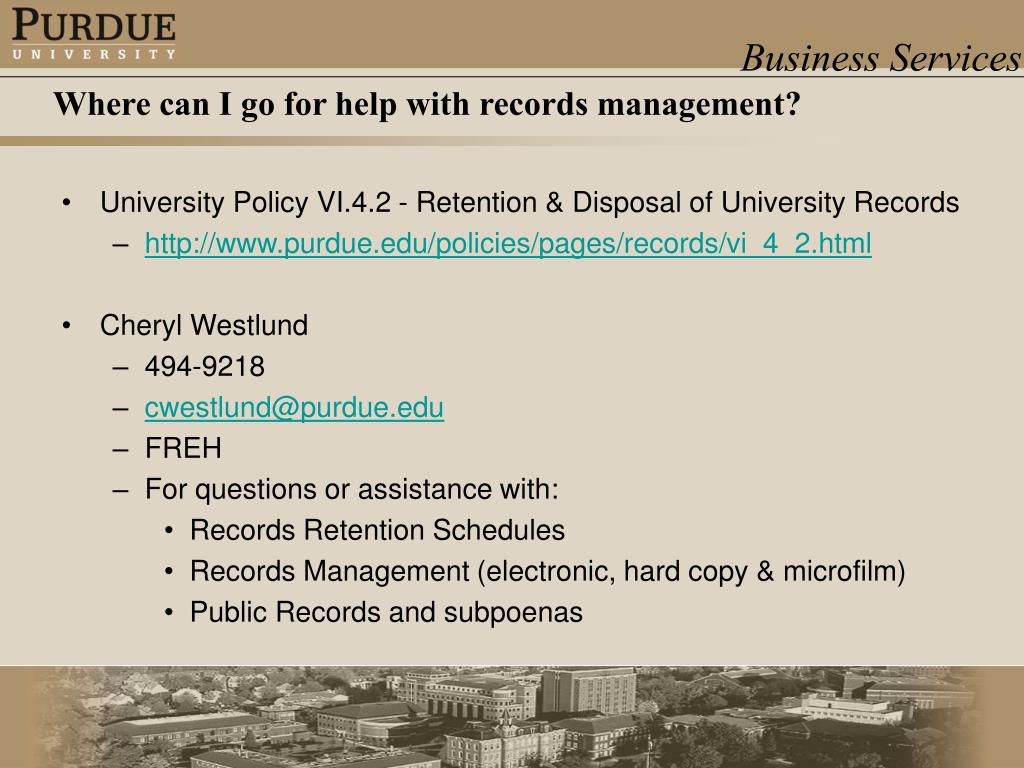 University Policy VI.4.2 - Retention & Disposal of University Records
