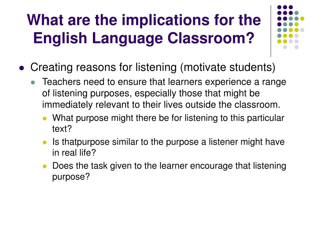 What are the implications for the English Language Classroom?