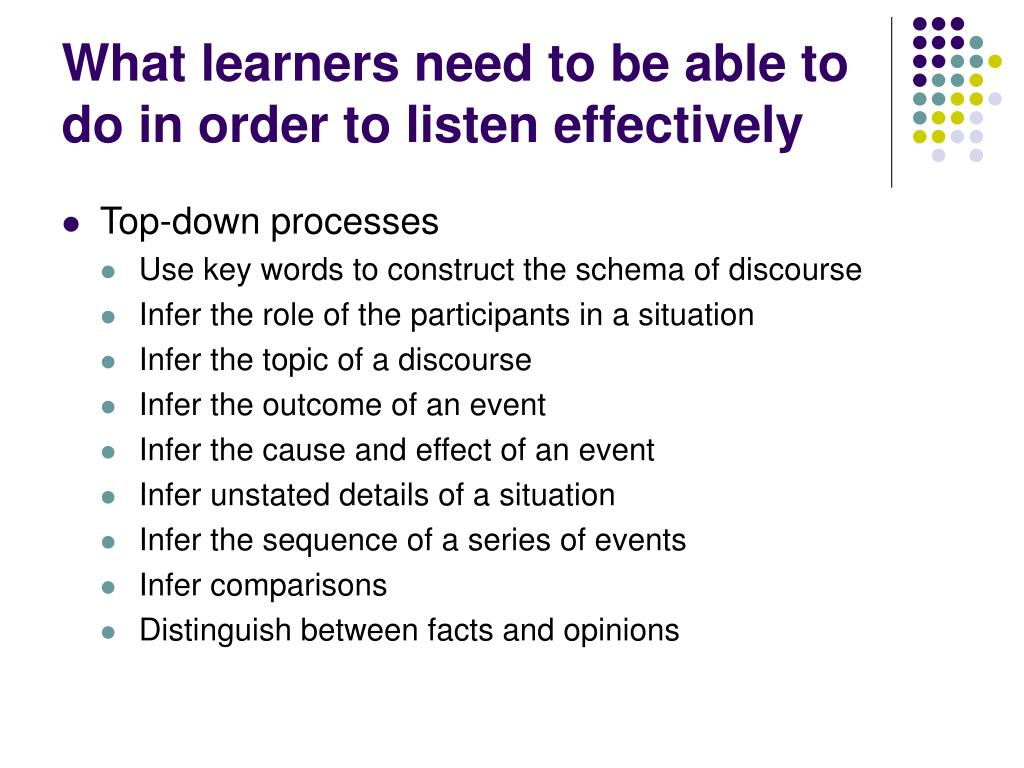 What learners need to be able to do in order to listen effectively