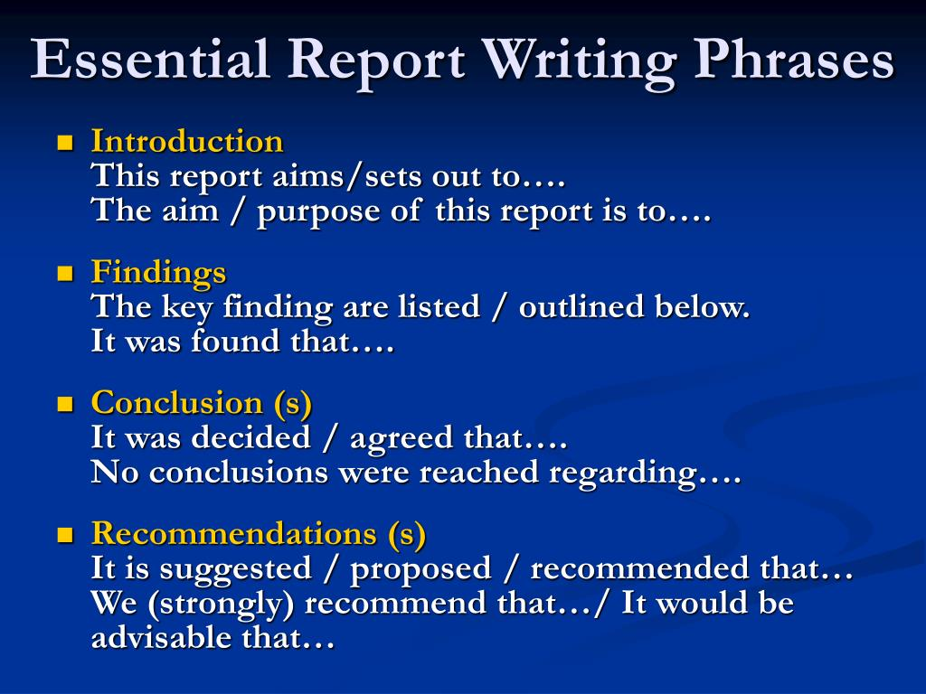 Essential Report Writing Phrases