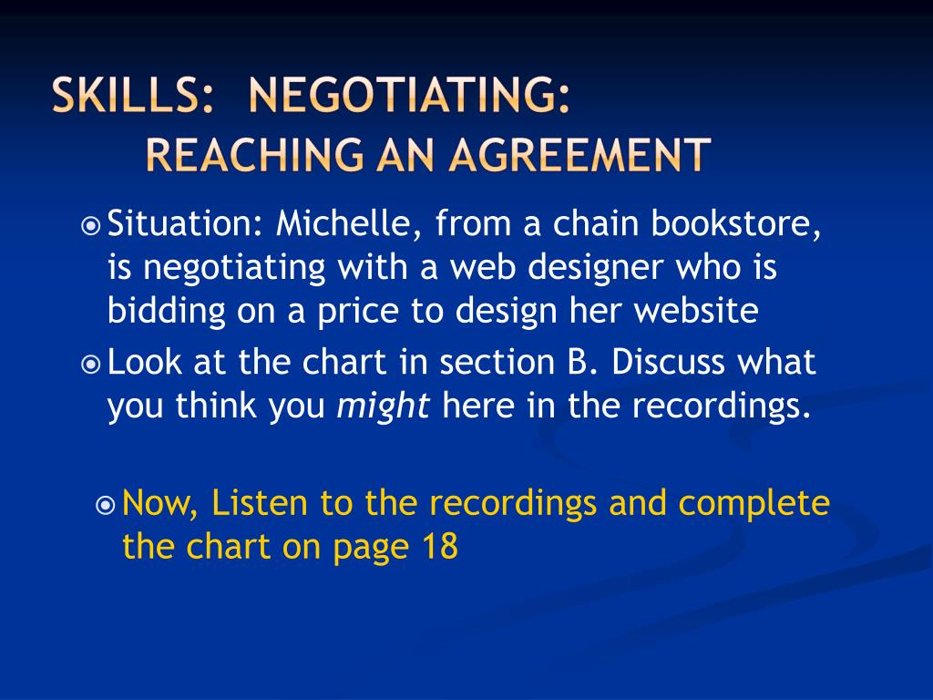 Situation: Michelle, from a chain bookstore, is negotiating with a web designer who is bidding on a price to design her website
