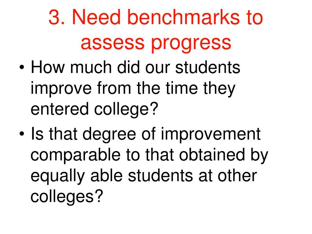 3. Need benchmarks to assess progress