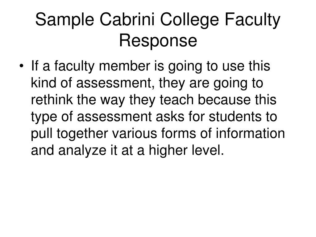 Sample Cabrini College Faculty Response