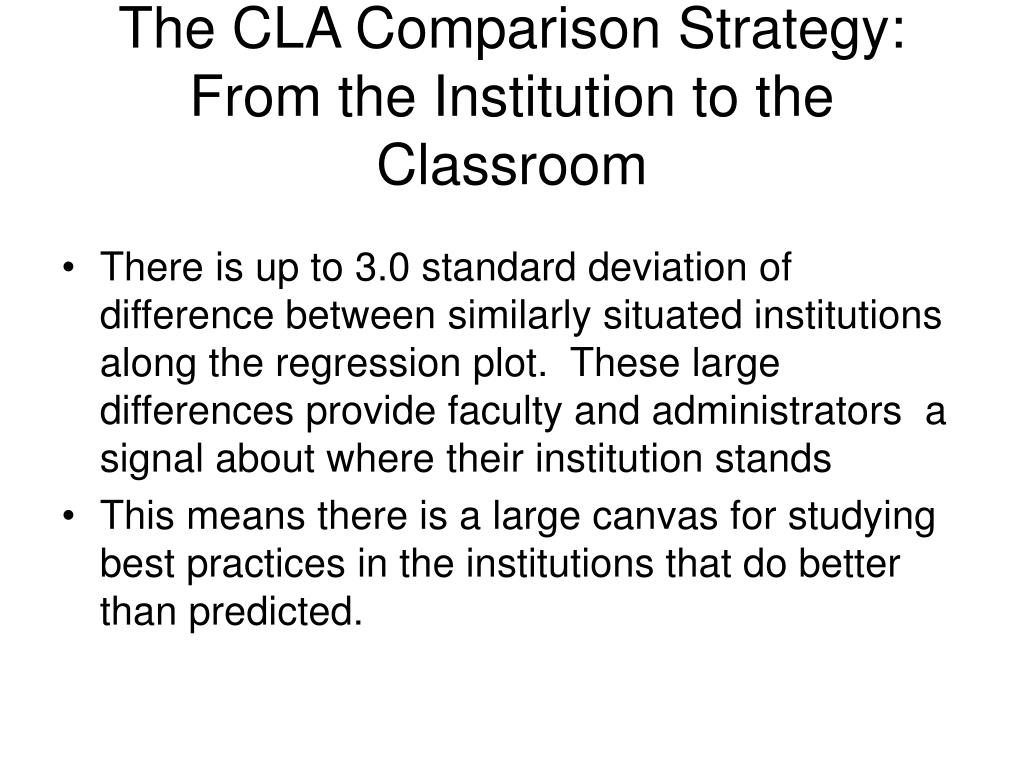 The CLA Comparison Strategy: From the Institution to the Classroom