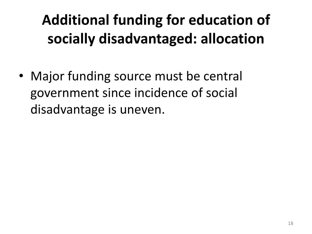 Additional funding for education of socially disadvantaged: allocation
