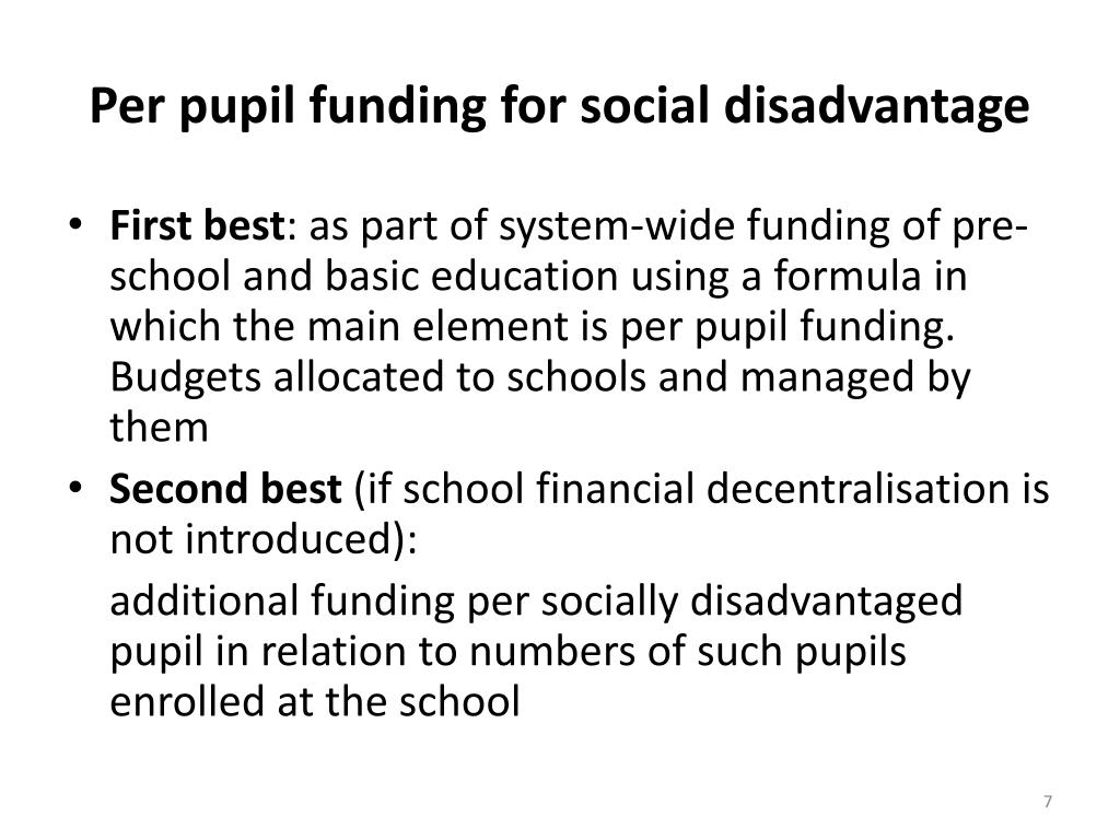 Per pupil funding for social disadvantage