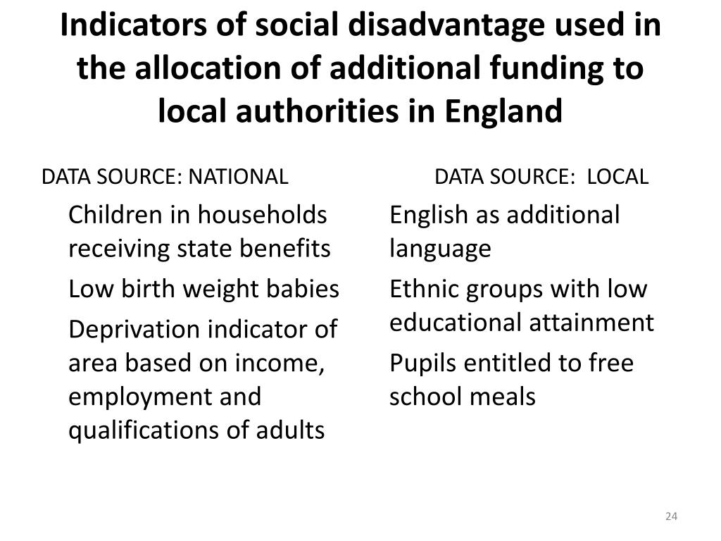 Indicators of social disadvantage used in the allocation of additional funding to local authorities in England