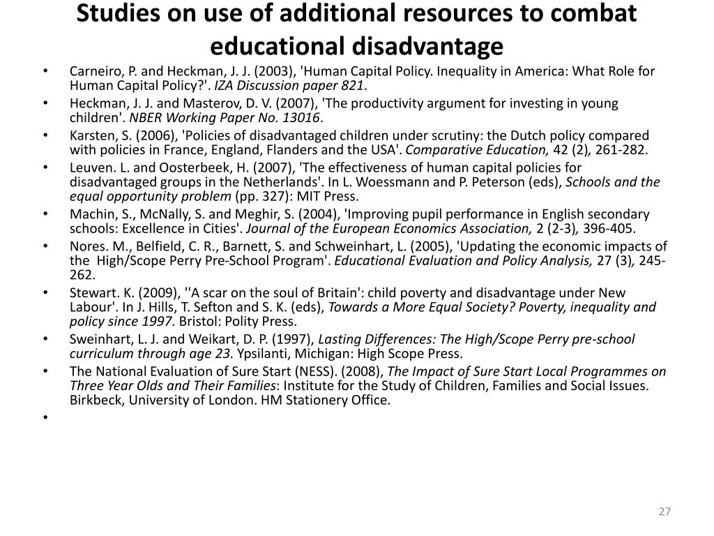 Studies on use of additional resources to combat educational disadvantage