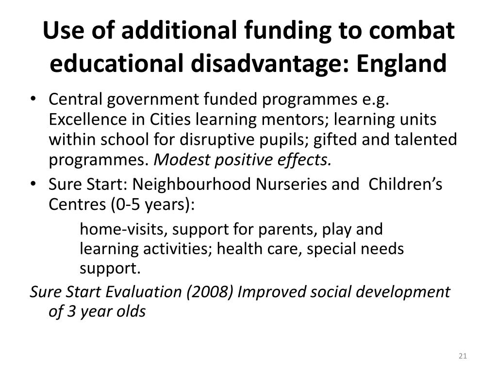 Use of additional funding to combat educational disadvantage: England