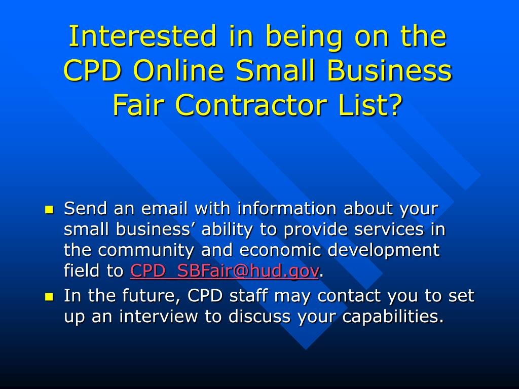 Interested in being on the CPD Online Small Business Fair Contractor List?