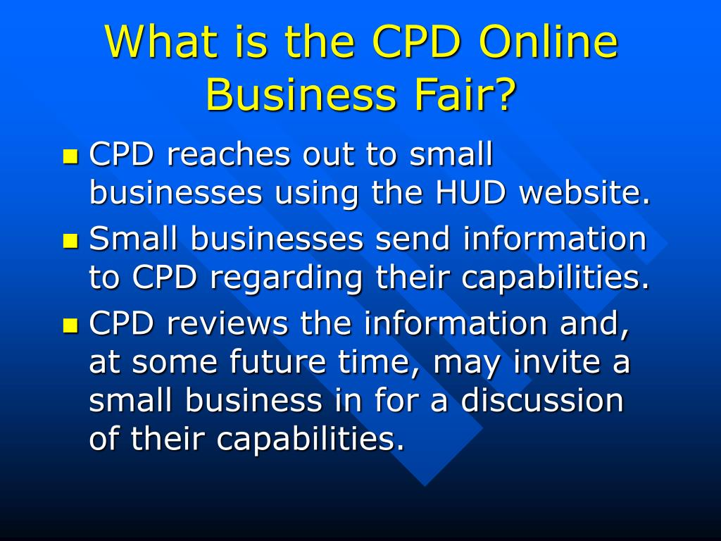 What is the CPD Online Business Fair?