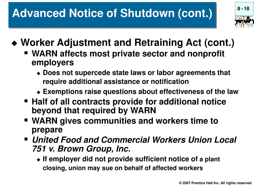 Worker Adjustment and Retraining Act (cont.)