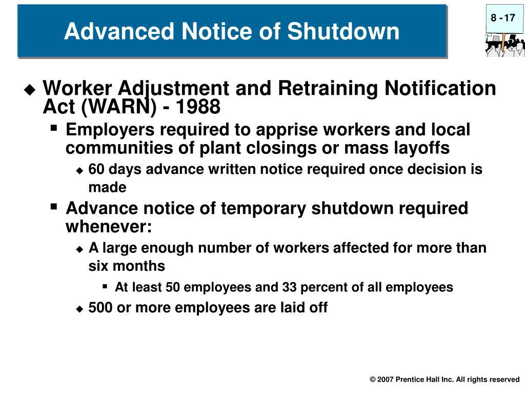 Advanced Notice of Shutdown