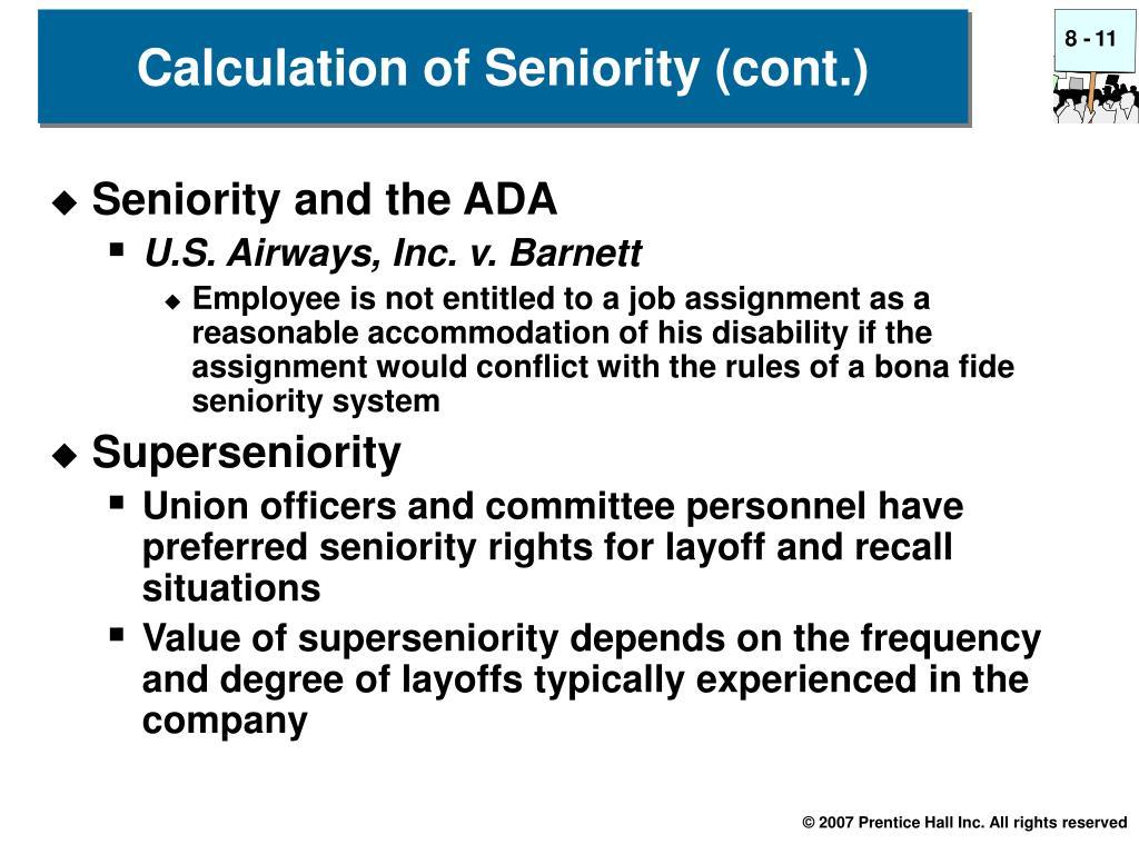 Seniority and the ADA
