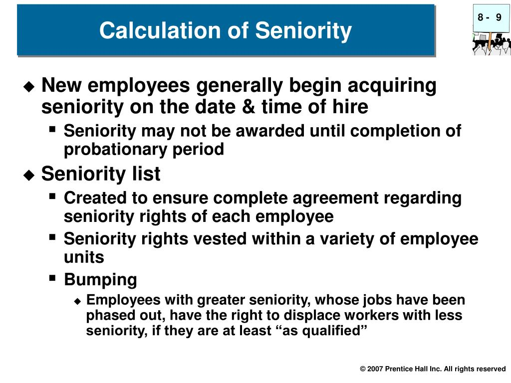 Calculation of Seniority