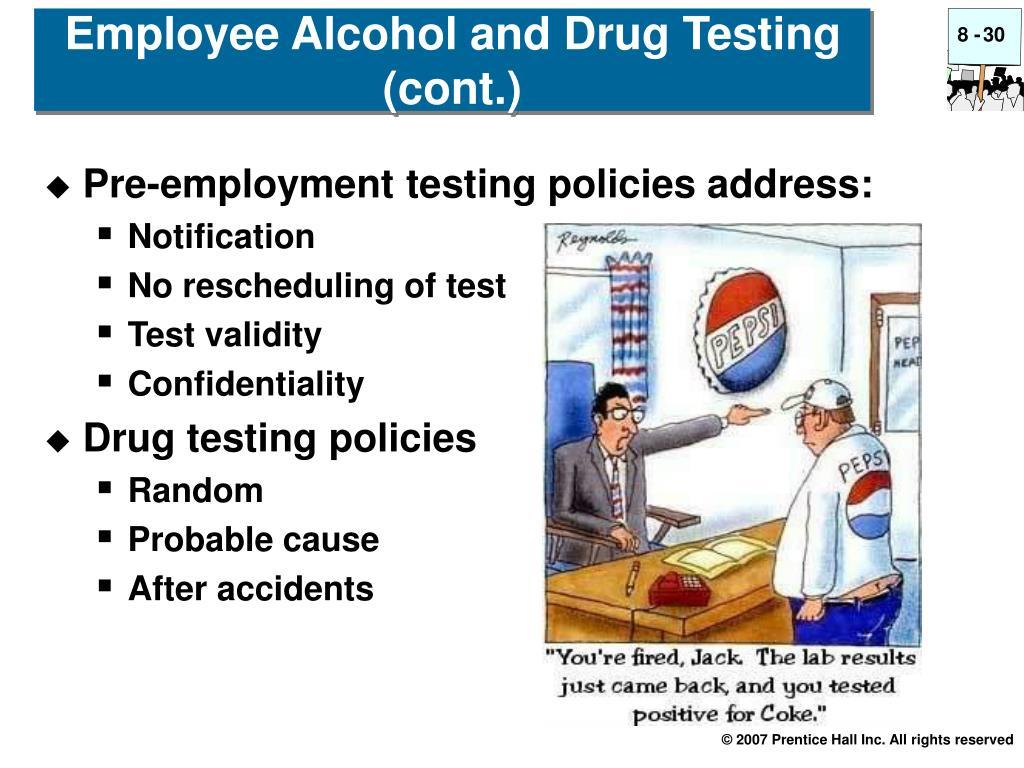 Pre-employment testing policies address: