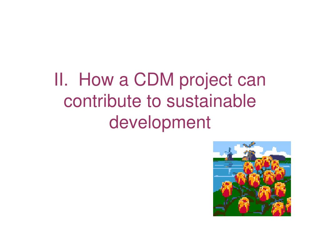 II.  How a CDM project can contribute to sustainable development