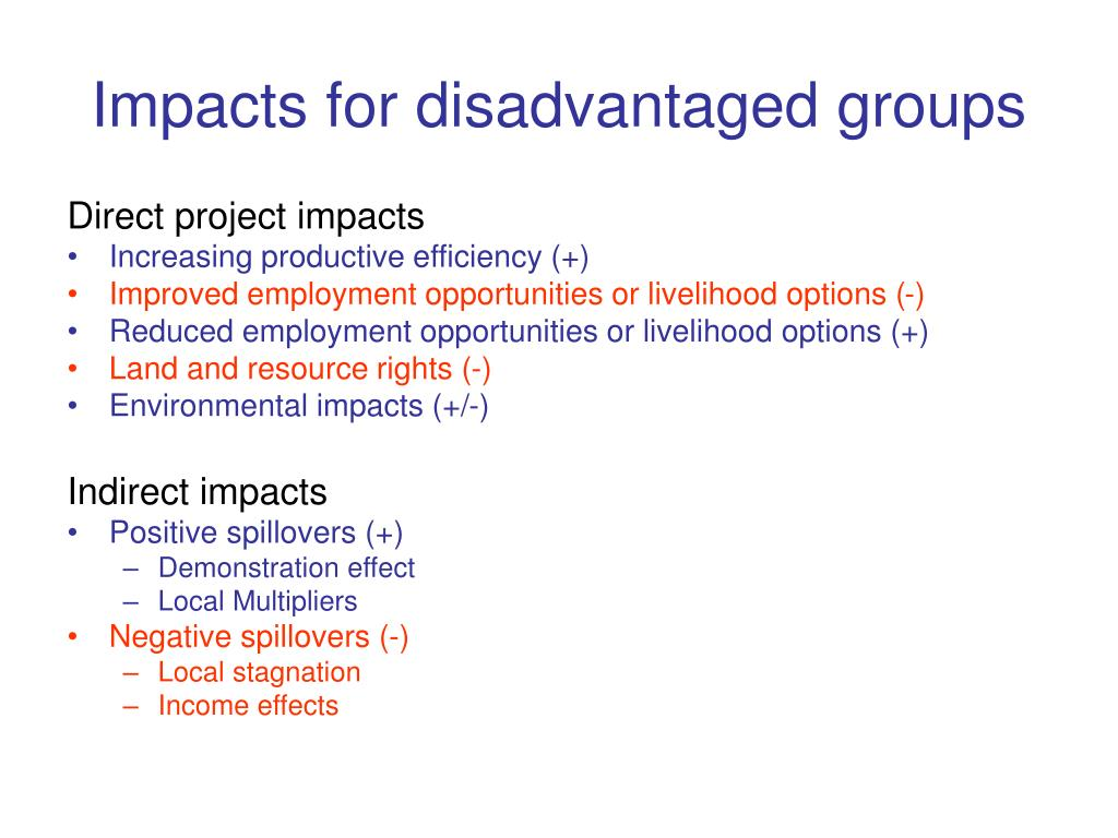 Impacts for disadvantaged groups