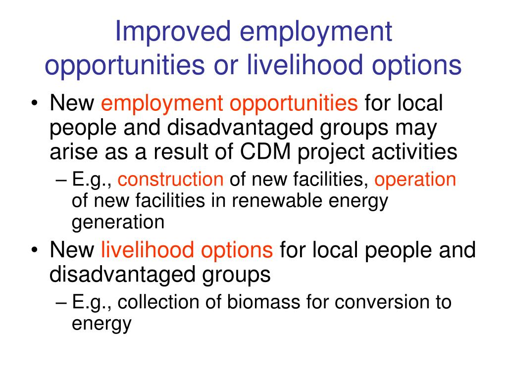 Improved employment opportunities or livelihood options