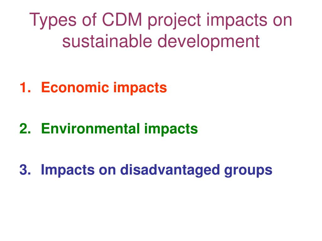 Types of CDM project impacts on sustainable development