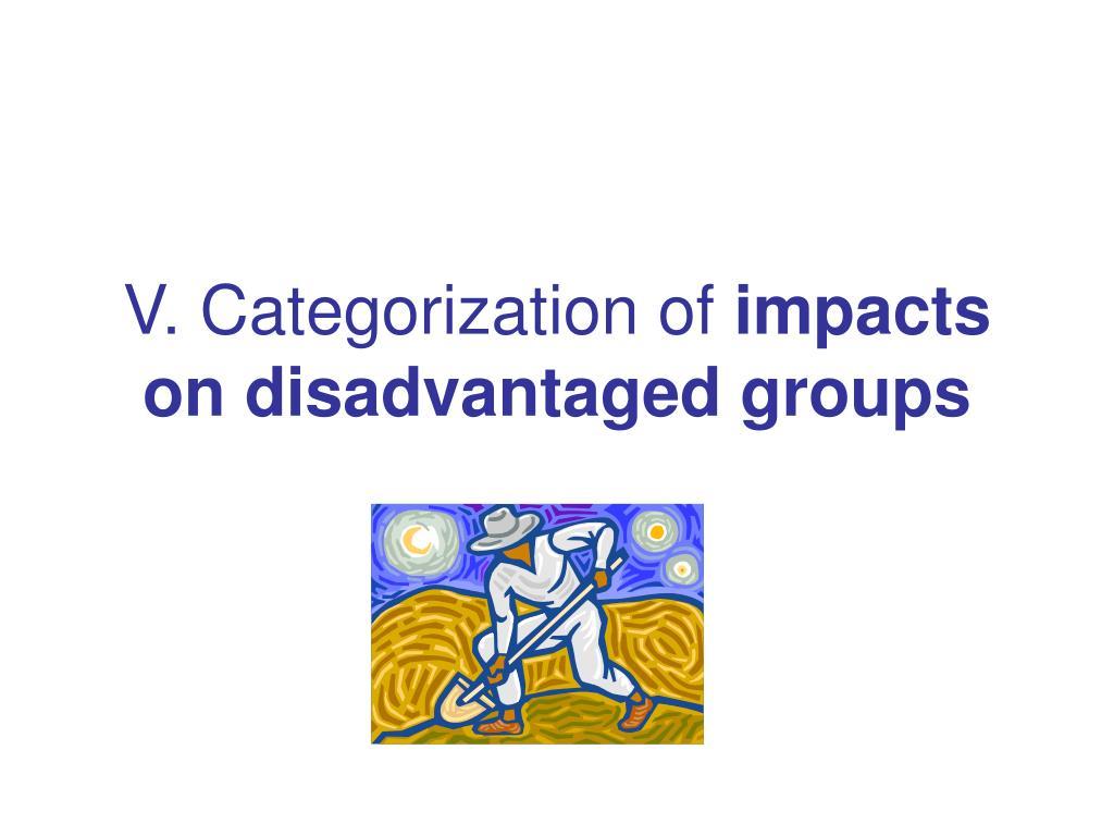 V. Categorization of