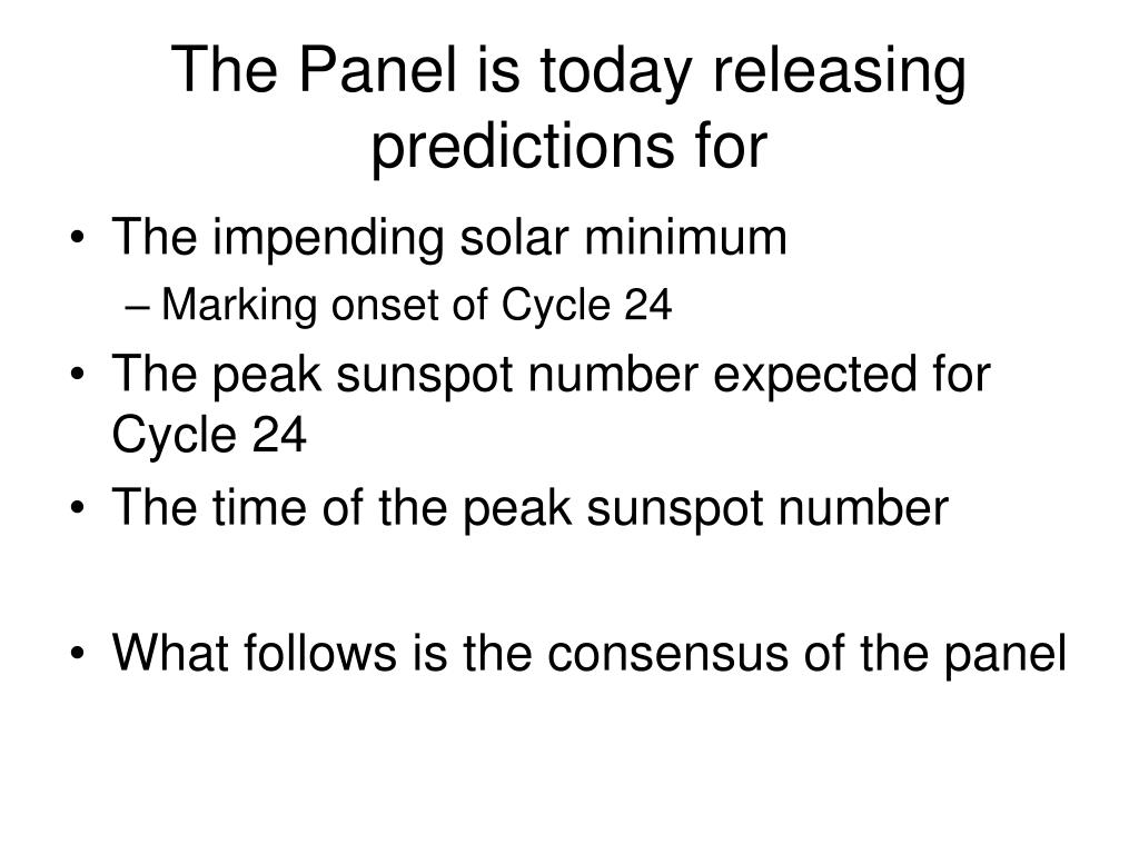 The Panel is today releasing predictions for