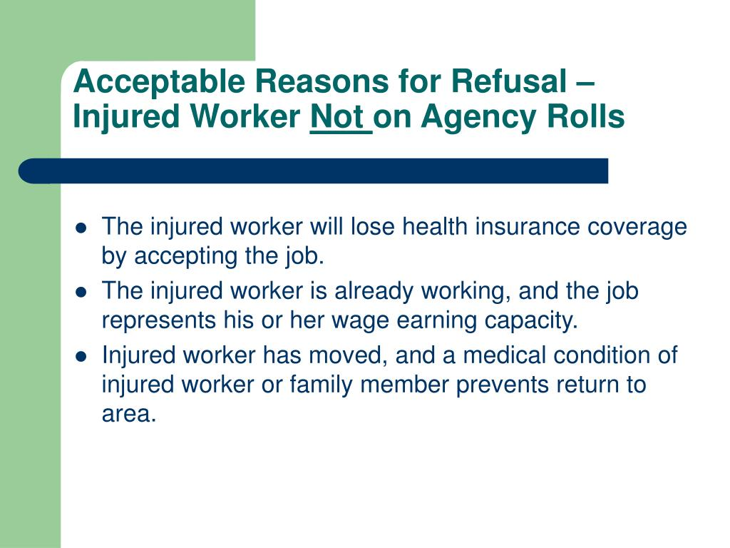 Acceptable Reasons for Refusal –Injured Worker